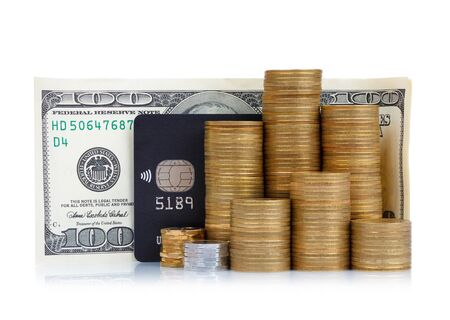 cc: Coins stack, credit card and dollar banknote isolated on white background Stock Photo