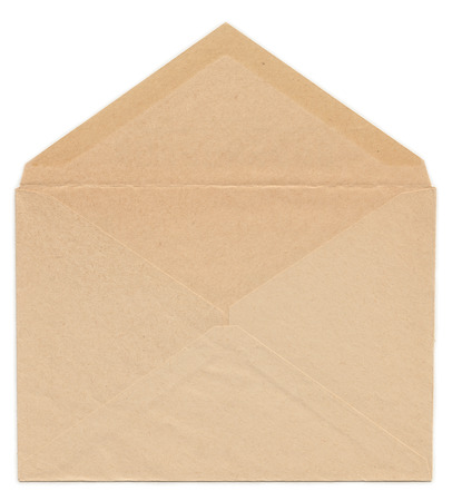 old envelope: Old yellowed paper envelope rear side, open, isolated on white