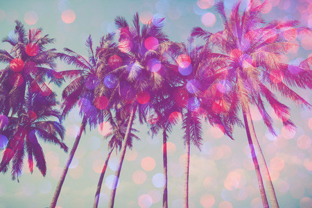 faded: Palm trees on tropical beach with party glamour bokeh overlay, double exposure effect stylized