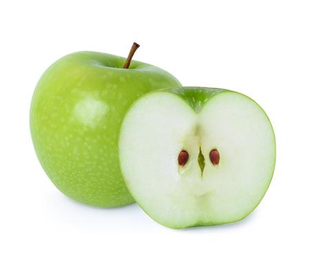 manzana verde: Manzana verde con media cruz aislado en fondo blanco