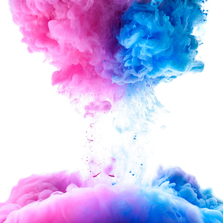 clue: Pink and clue paint clouds in water on white background Stock Photo