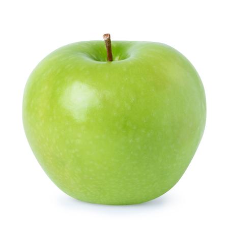 manzana verde: Manzana verde madura, aislado en fondo blanco
