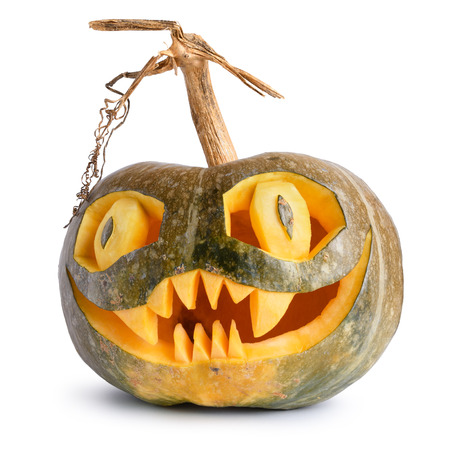 carved pumpkin: Halloween pumpkin scary carved isolated on white background Stock Photo