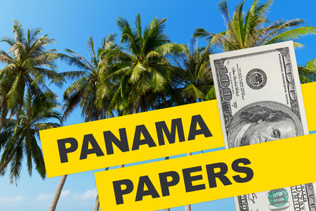 tress: Panama Papers 2016 documents leak concept collage with tropical palm tress and dollar bill with with Panama Papers text.