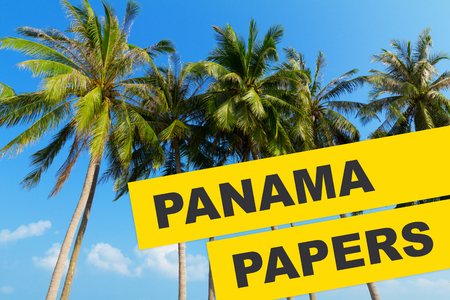 tress: Panama Papers 2016 documents leak concept collage with tropical palm tress and Panama Papers text.
