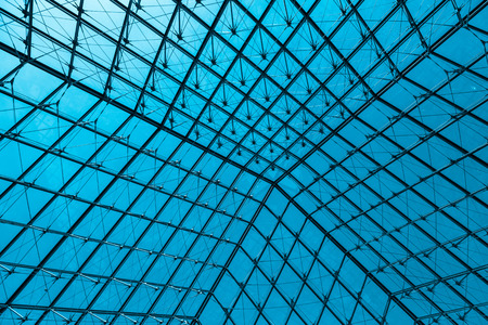 glass ceiling: Abstract modern glass ceiling, blue toned Stock Photo