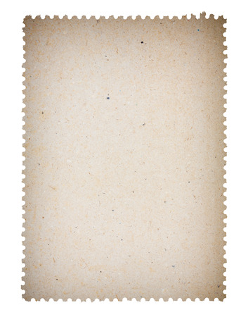 post stamp: Blank old post paper stamp, isolated on white background Stock Photo