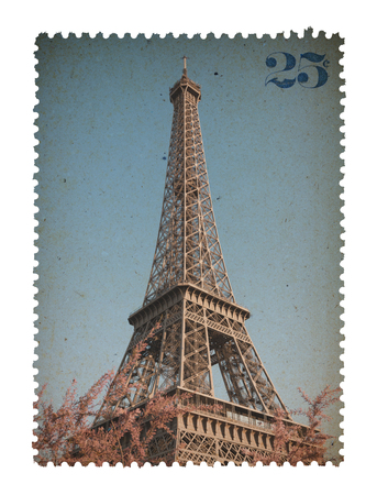 post stamp: Vintage stylized post stamp with Eiffel Tower from Paris France isolated on white background