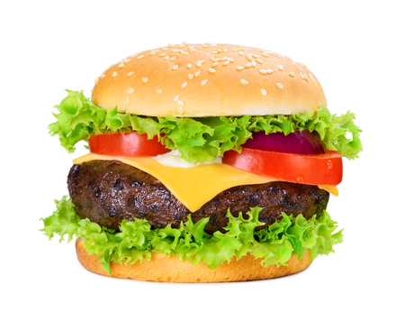 Classic hamburger with big grilled putty isolated on white background Stock Photo