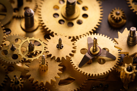 Old gears and cogs macro Stock Photo