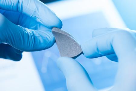New material in scientist hands research concept Banco de Imagens
