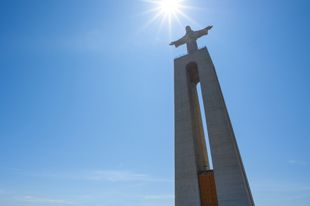 Christ the King Statue at clear summer sunny day in Lisbon Portugal