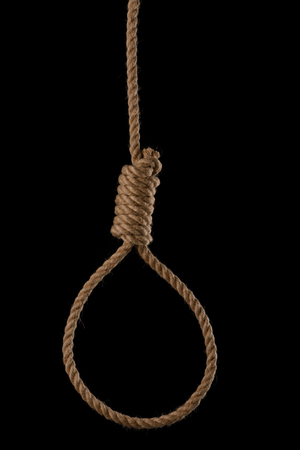 Rope noose with tight hangman knot isolated on black background Stock Photo