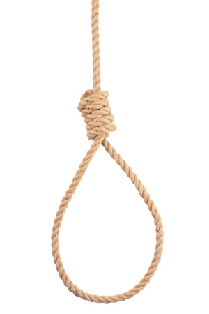 Rope noose with tight hangman knot isolated on white background Stock Photo