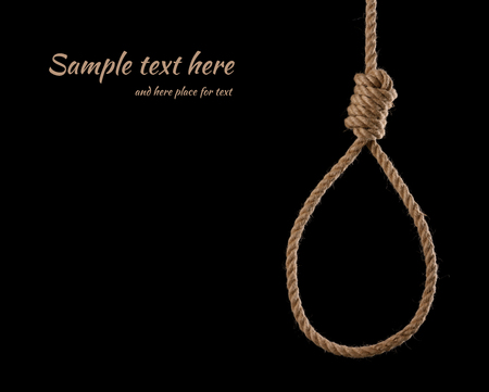 Rope noose with tight hangman knot isolated on black background with side copy space
