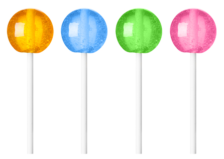 Lollipop different colors recolored isolated on white background 写真素材