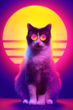 Retro wave synth vaporwave portrait of a cat in sunglasses with palm trees reflection. 80s sci-fi futuristic fashion animal poster style violet neon aesthetics.