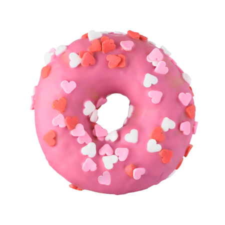 Pink donut with heart sprinkles decoration. Valentines day love sweet cute glazed donut. Imagens