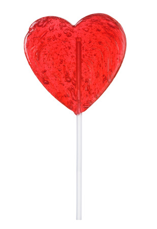 Lollipop heart shape isolated. Transparent candy on stick love valentines day gift.