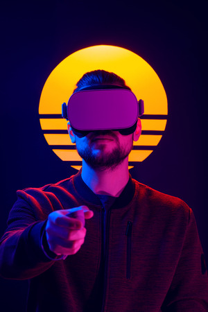 Man wearing virtual reality goggles interact with VR wireless controller. VR head set videogame in 80s synth wave and retro wave futuristic aesthetics. Imagens