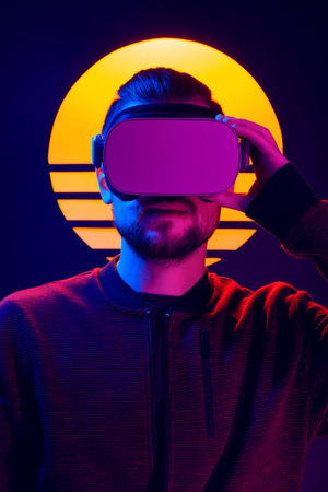 VR head set videogame in 80s synthwave and retrowave futuristic vaporwave aesthetics.