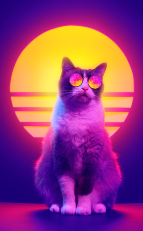 Retro wave synth vaporwave portrait of a cat in sunglasses with palm trees reflection. 80s sci-fi futuristic fashion poster style violet neon aesthetics.
