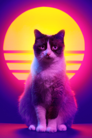 Retrowave synthwave portrait of a cat in 90s retro aesthetics style. 80s sci-fi futuristic animal party poster violet neon.