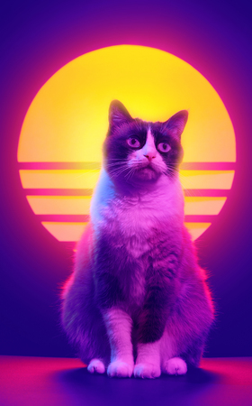 Retrowave synthwave portrait of a cat in 90s retro aesthetics style. 80s sci-fi futuristic poster violet neon.