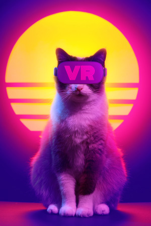 Cat wearing virtual reality goggles wireless headset. VR videogame experience in 80s synth wave and retro vaporwave futuristic aesthetics.