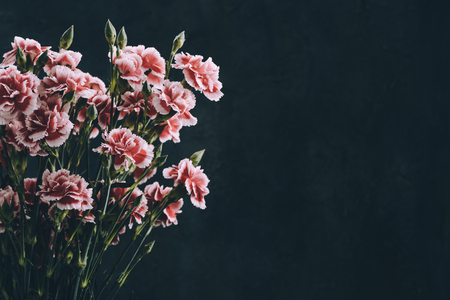 Carnation flowers bouquet vintage color toned. Dark moody background with copy-space. 스톡 콘텐츠