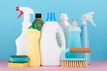 Cleaning liquids and tools set for different housework. Bathroom, kitchen, office house cleaning service equipment.