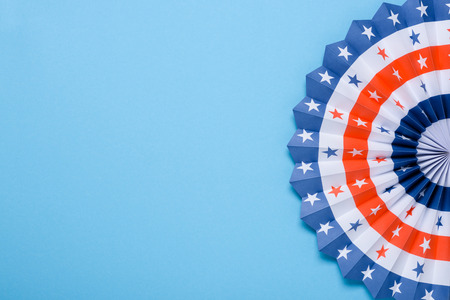 USA flag theme colored paper star fan on blue background.  4th of July Independence Day template.