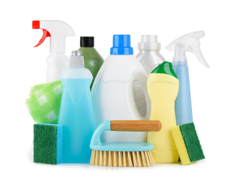 Cleaning liquids and tools assortment set for different housework. Bathroom, kitchen, office house cleaning service equipment. Isolated on white background.