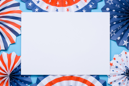 4th of July holiday banner design. USA flag color theme paper fans template. Independence Day lanterns.
