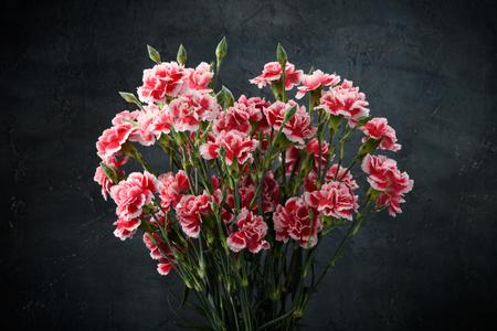 Carnation flowers bouquet over dark moody art background Stock Photo