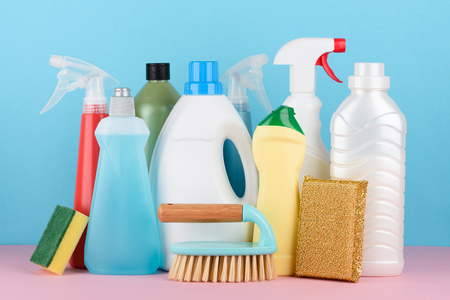 Bathroom, kitchen, office house cleaning service equipment. Cleaning detergent tools set for different housework.