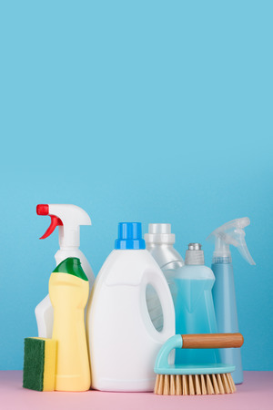 Cleaning products and tools set for different housework. Bathroom, kitchen, office house cleaning service equipment.