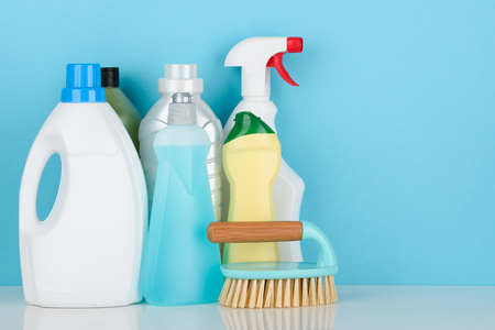 Cleaning liquids and tools set for different housework Stock Photo