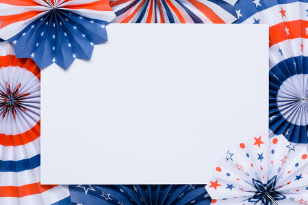 4th of July banner template. Paper fans stars USA Independence Day flag colors.
