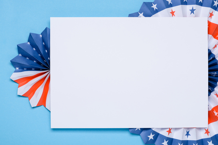 Independence Day lanterns template. 4th of July holiday banner design. USA flag colors paper fans on blue background.