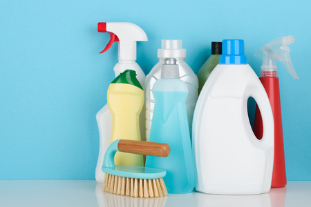 Detergents assortment on blue background Stock Photo