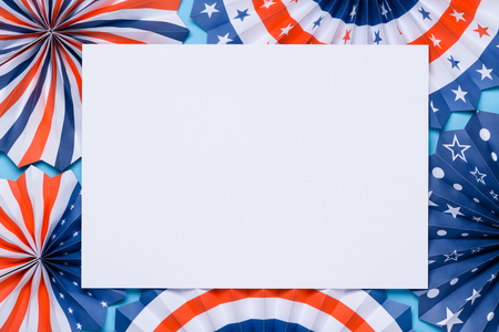 Independence Day lanterns. 4th of July holiday banner design. USA flag color theme paper fans template.