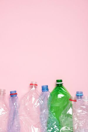 Plastic bottles for recycle top view vertical template with copy space