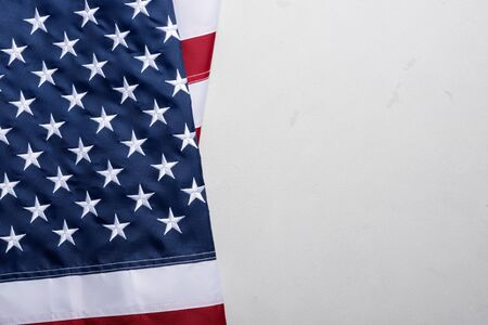 Flag of United States of America on stucco table top view Stock Photo