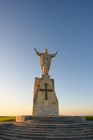 Catholic monument Sagrado corazón de Jesus on top of mountain Naranco in Oviedo, Asturias Stock fotó