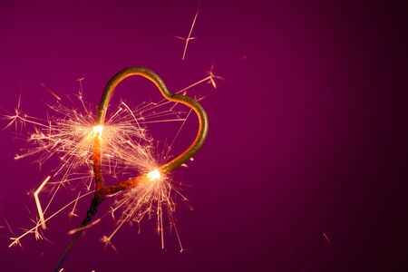 Sparkler in shape of heart. Wedding love Valentines day banner template with place for text. Stock fotó