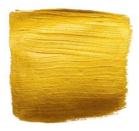 Golden metallic foil paint hand brush stroke design element isolated on white background. Stock fotó