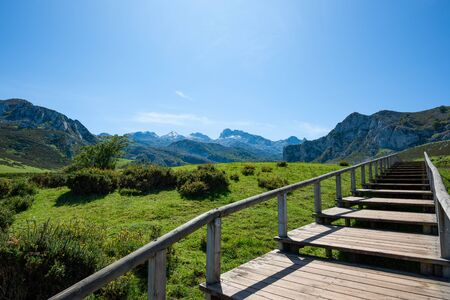 Boardwalk road to mountains and lakes of nathional park Picos de Europa in Asturias, Spain