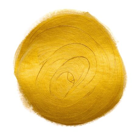 Gold metallic foil paint hand brush circle round design element isolated on white background. Stock fotó