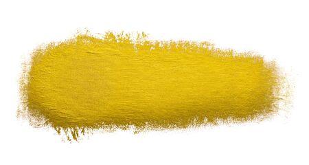 Gold paint brush stroke metallic foil color design element isolated on white background.